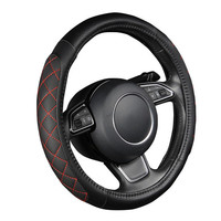 EUROTYPER Black Red Line PU leather Car Steering Wheel Cover Black Lychee Pattern Two sides Thick Foam Padding