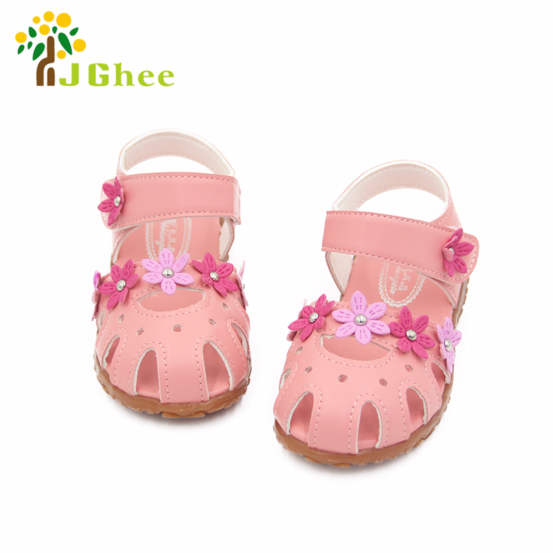 Summer Girls Sandals Anti-kick Toe-cap Children Shoes PU Leather With Flowers Fashion Kids Baby Girl Sandals Soft Fashion Floral