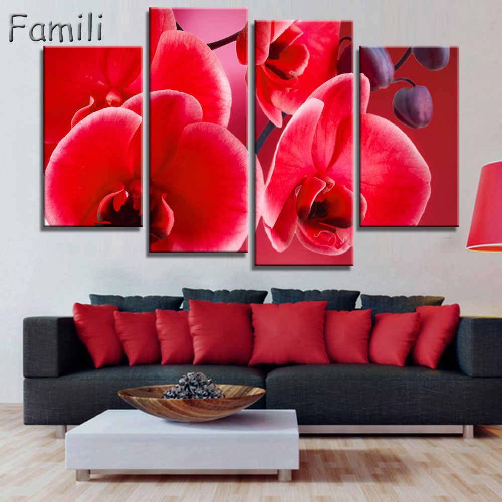4 шт печатные плакаты картины стены искусства розовый орхидеи украшения искусства картина маслом модульные фотографии на стене гостиной (без рамки)