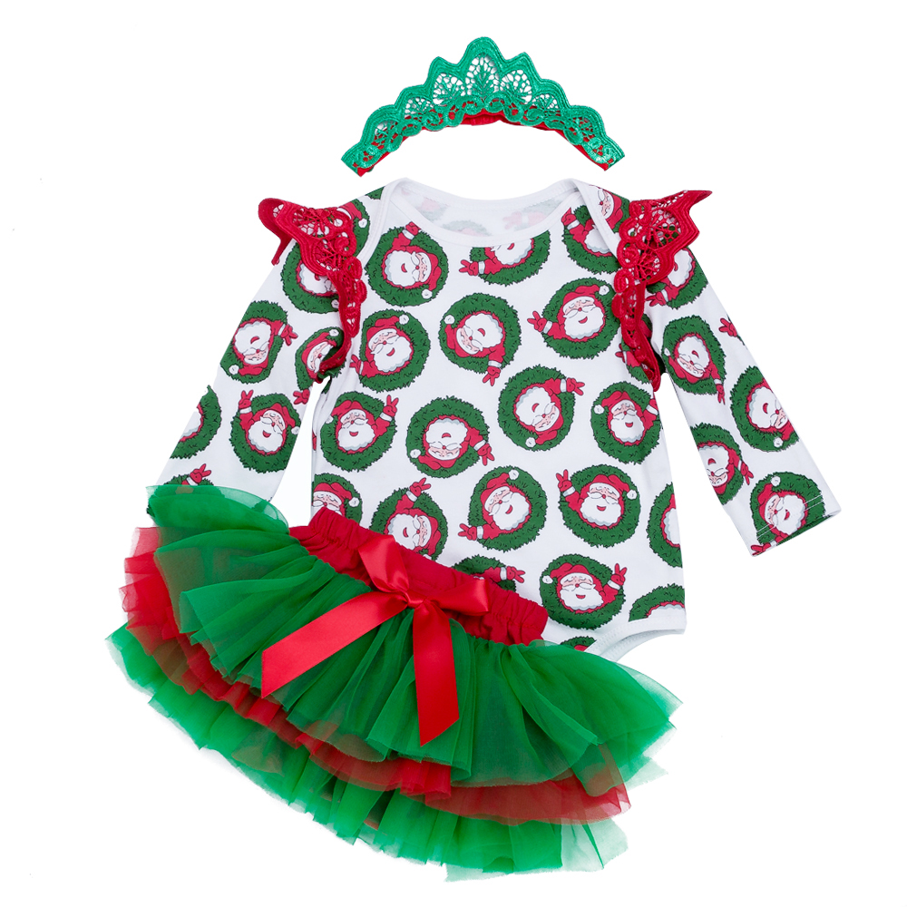 YK&Loving Christmas 3pcs Clothes Sets for Baby Girls Long Sleeve Baby Rompers Green Tutu Skirt Autumn Baby Clothing New Born