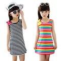 Meninas de verão Vestidos de Algodão Casual Crianças Roupas Sem Mangas Roupas de Bebê Listrada Para Meninas Arco O-pescoço Roupa Das Crianças