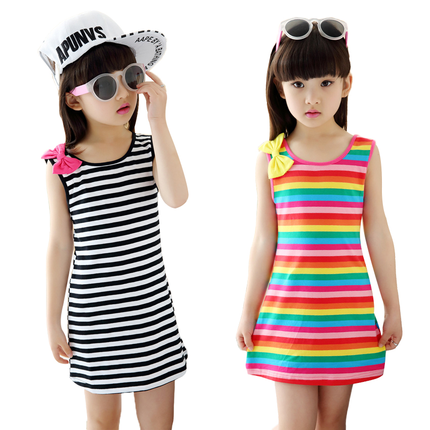 Summer Girls Dresses Cotton Casual Children Clothing Sleeveless Striped Baby Clothes For Girls Bow O-Neck Children Clothing summer girls dresses casual children clothing sleeveless striped baby clothes for girls o neck striped brilliant color