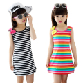Summer Girls Dresses Cotton Casual Children Clothing Sleeveless Striped Baby Clothes For Girls Bow O-Neck Children Clothing