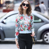 SEQINYY Embroidery Short Jackets 2019 Spring Summer Woman's New High Street Fashion Floral Stand Elegant Long Sleeve Slim Jacket