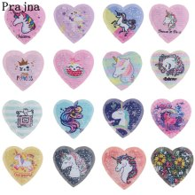 Prajna Animal Unicorn Cat Patches Sequins Reversible Sewing Fabric Stickers Sew On Clothing Decor Heart Appliques