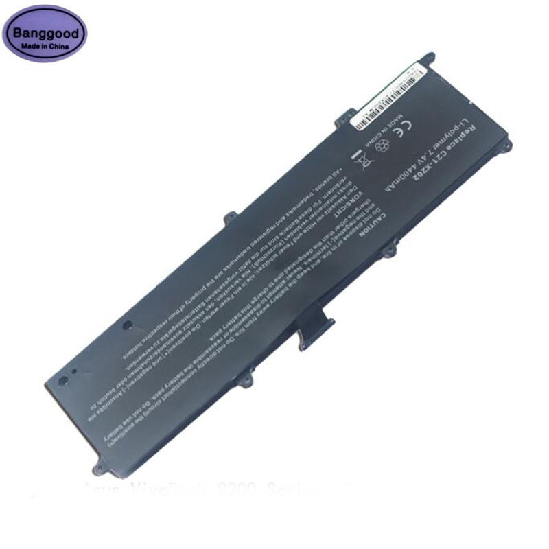 <font><b>7.4V</b></font> <font><b>4400mAh</b></font> Rechargable Laptop <font><b>Battery</b></font> Pack for ASUS C21-X202 VivoBook S200 S200E X202 X202E X201 X201E series S200E-CT209H image