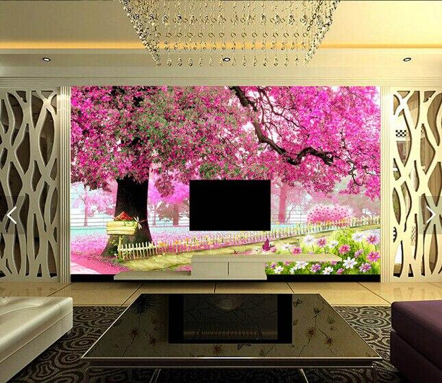 Custom photo Wallpaper,3 D Cherry tree Wallpaper for Sitting Room Tv ...