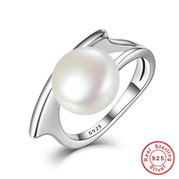 Authentic 100 925 Sterling Silver Freshwater Cultured Pearl Rings Jewelry