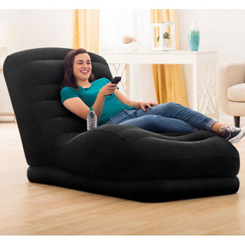 INTEX 68595 170*96*86CM Flocking Single Back Inflatable Sofa Lazy Leisure Recliner Sofa With Electric Pump
