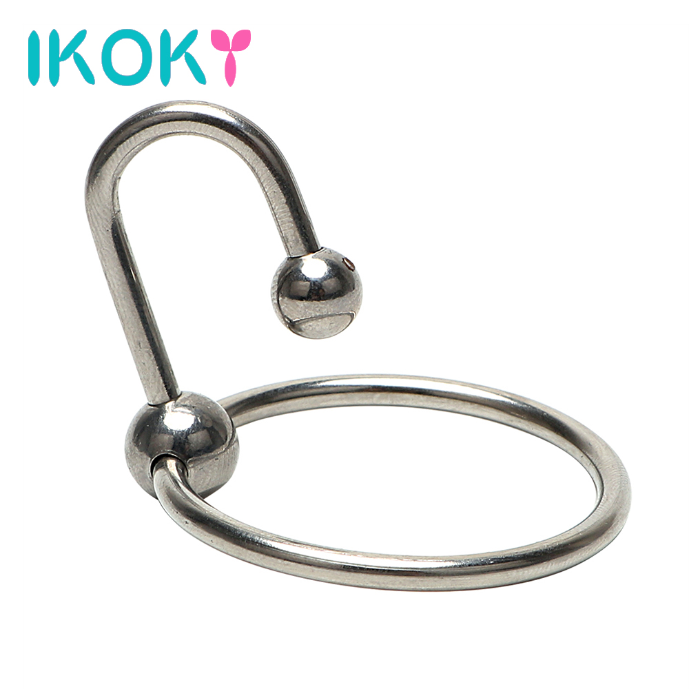 IKOKY Penis Plug Male Chastity Device Urethral Dilator Penis Rings With Head Ring Stainless Steel Catheter Sound Beads