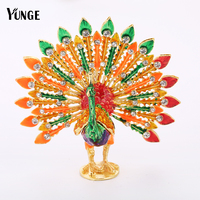 YUNGE Wedding Gifts Trinket Box Pewter Peacock Mascot Figurine Home Decoration Crystal Animal Souvenir Sculpture