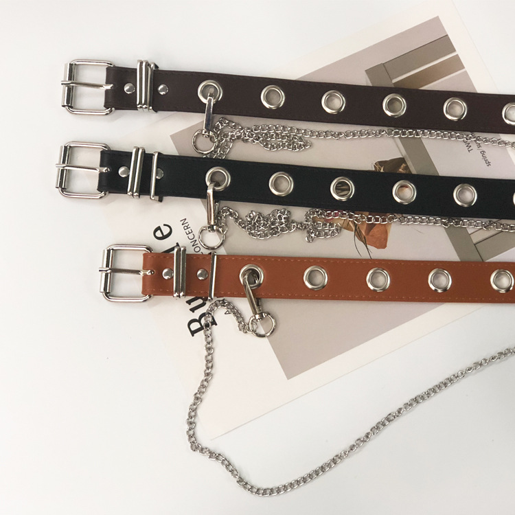 Detachable Waist Belt Chain Punk Hip-hop Trendy Women Belts Lady Fashion Silver Pin Buckle Leather Waistband Jeans Newest Design