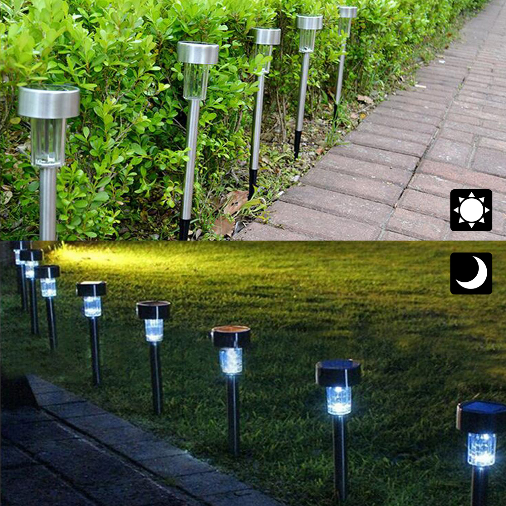 12 Pack Solar Powered Led Lights Bright White Outdoor