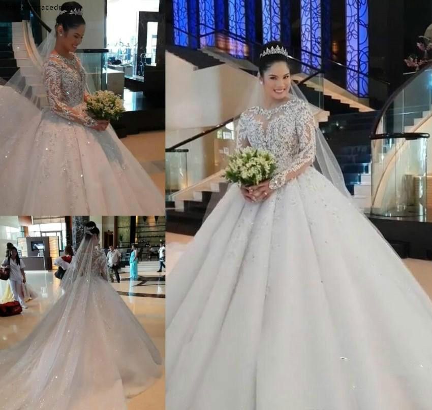 Vintage Handmade Wedding Dresses Puffy Sheer Neck Long Sleeves Country Garden Formal Bride Bridal Gowns Plus Size Custom Made