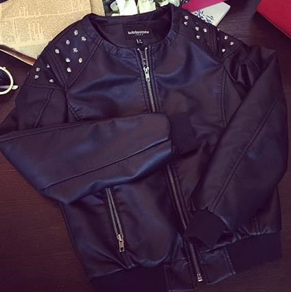 new Rivet PU   leather   shorts coat women Motorcycle jacket round neck spring and summer