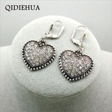 QIDIEHUA Vintage Silver Transparent Rhinestone Earrings For Women Fashion Statement Bijoux Wedding Party Gift Wholesale