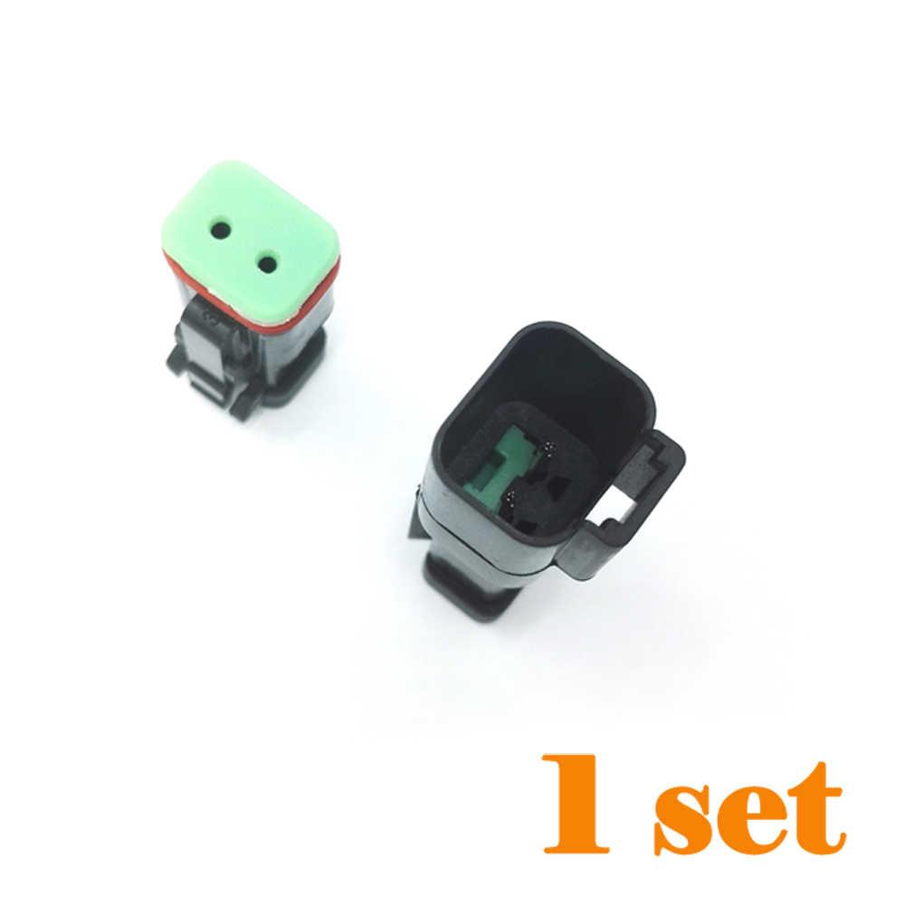 1 Set DT Deutsch Dua Pin Ditingkatkan Seal Tahan Air Auto Konektor Colokan Kit Pria Wanita Deutsch DT Tipe DT04-2P untuk lampu LED