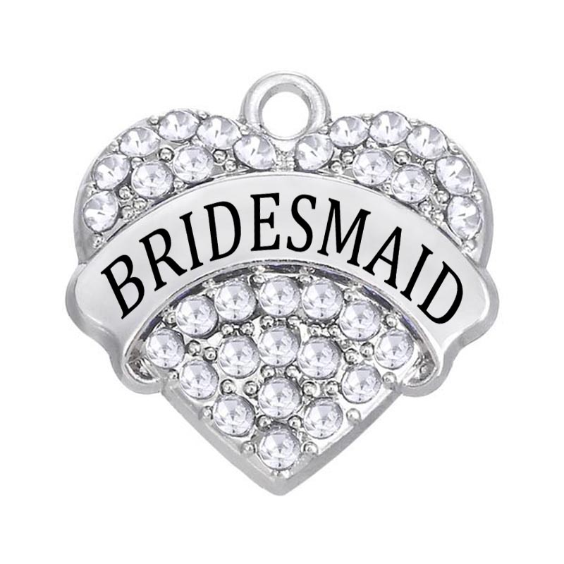 DOUBLE NOSE 30 Pieces a lot Alloy Diy Jewelry Accessory White Crystal Heart Bridesmaid Charm Pendant