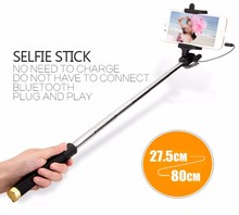 Фотография Portable Extendable Wired Mini Selfie Stick parts phone case with remote button for mobile phone,camera, IOS or Android system