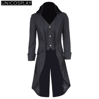 Steampunk Black Long Trench Cosplay Costume Men S WasitCoat Suit Halloween Party Uniform