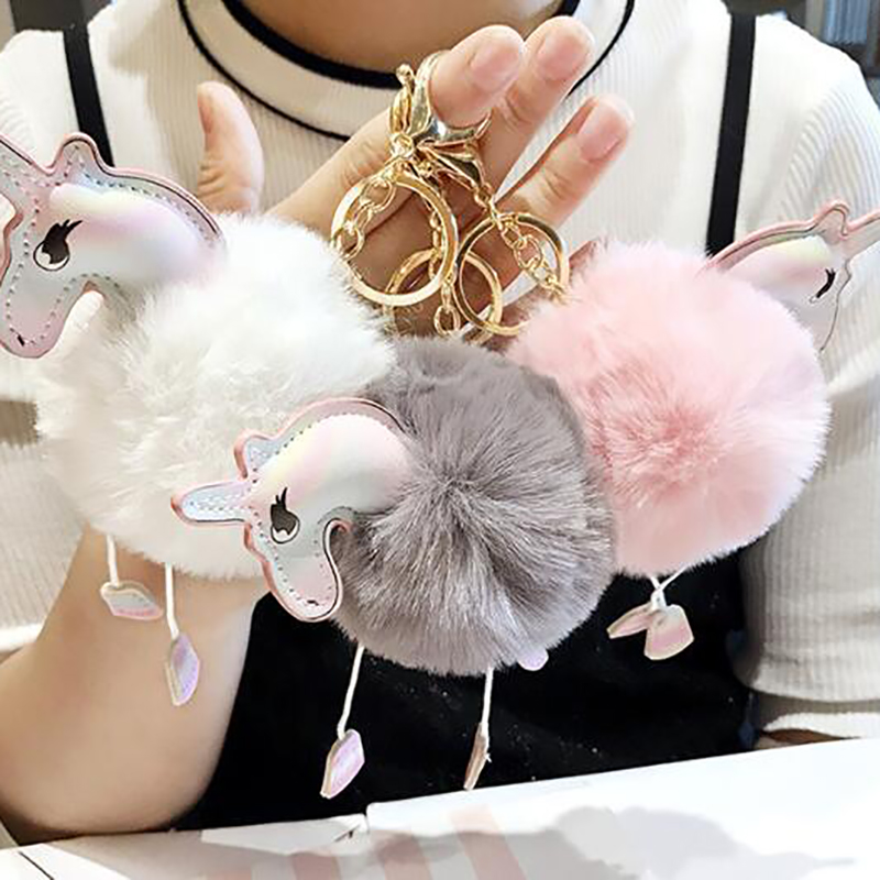 Hot Fluffy Unicorn Keychains Keyrings Lovely Horse Bag
