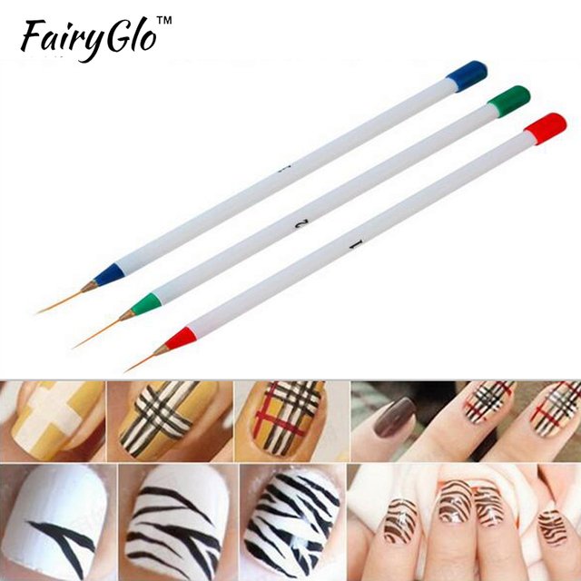 Fairyglo Wit 3 Stks Nail Art Liner Brush Pen Verf Tekening Ontwerp