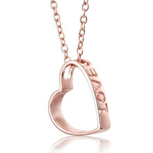 Купить с кэшбэком New Hot Christmas Birthday Gift 18K Gold Hollow Heart Necklace Pendant Rose Gold Color Heart Necklace Accessory 0.81g