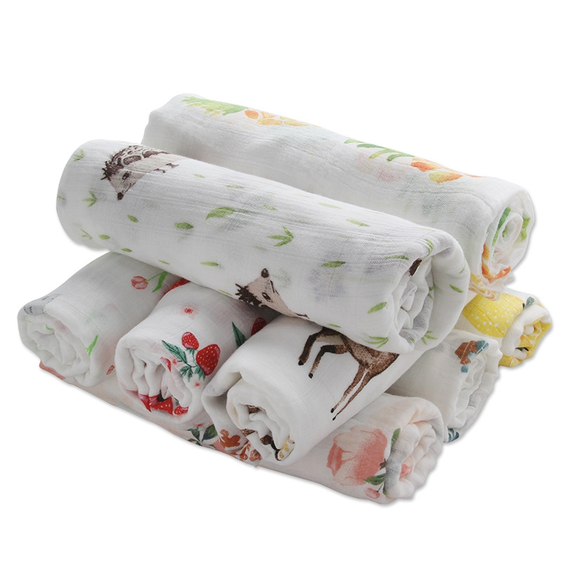 Muslin Baby Swaddle Blanket Bamboo Newborn Receiving Blanket Summer Infant Bath Towel Swaddle Multi Functions Baby Wrap Blankets