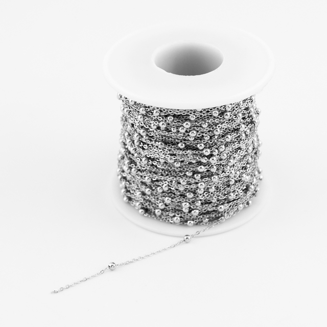 1.2mm Women thin Necklace Stainless steel chain Rolo cable Chain with space ball sell in 5 Meters no clasp chains