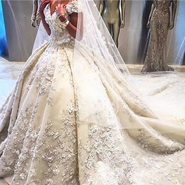 Cathedral Train Top Quality Wedding Ball Gowns 2017 Cap Sleeve Handmade Flowers Ivory Dresses Detachable