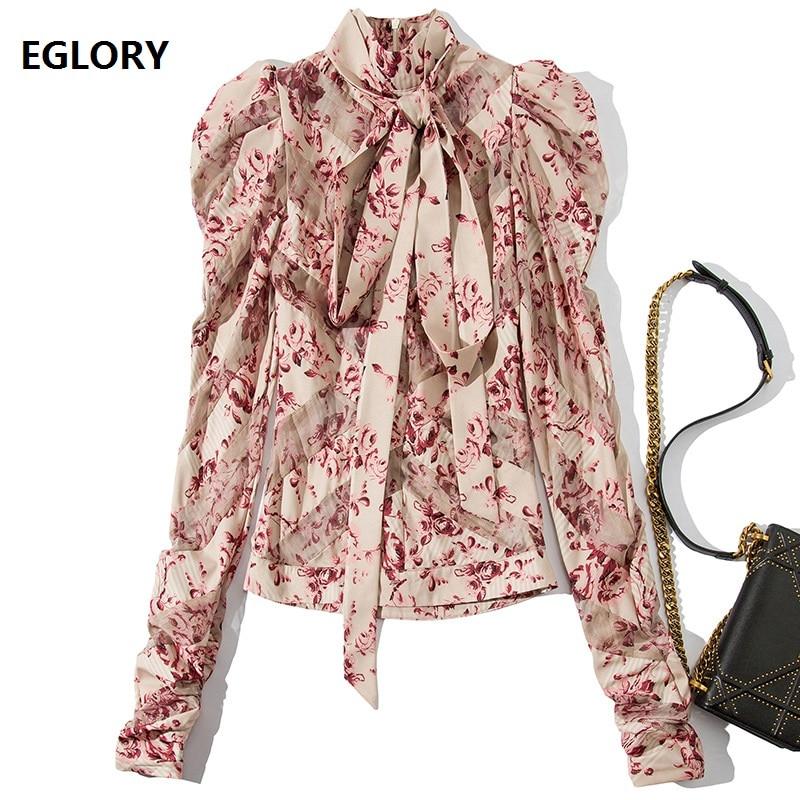 Bow Tie Elegant Blouses 2019 Spring Autumn Fashion Pink Shirt Women Puff Sleeve Sweet Floral Print Tops Shirt Blusa Feminino