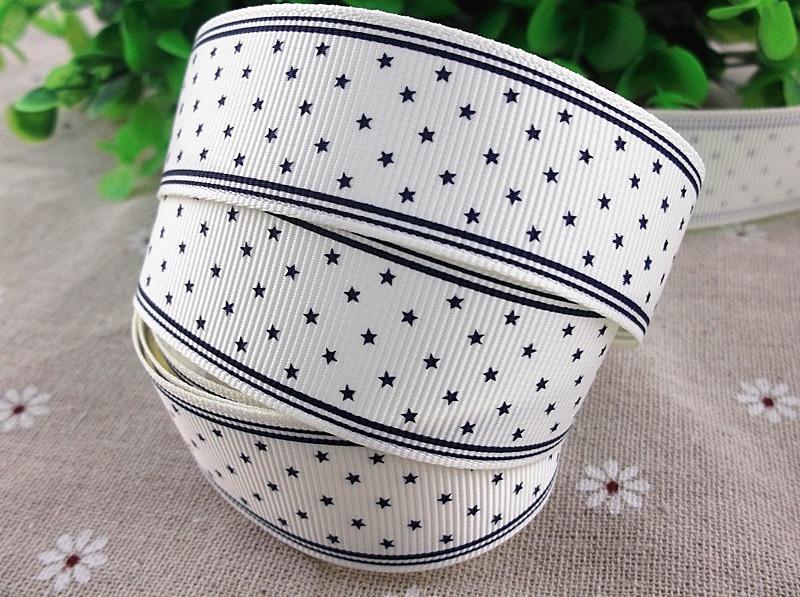 2013 Новое поступление 1 »(25 мм) звезды синий белый печатная корсажная лента в горошек лента Hairbows оптовые 50 ярдов