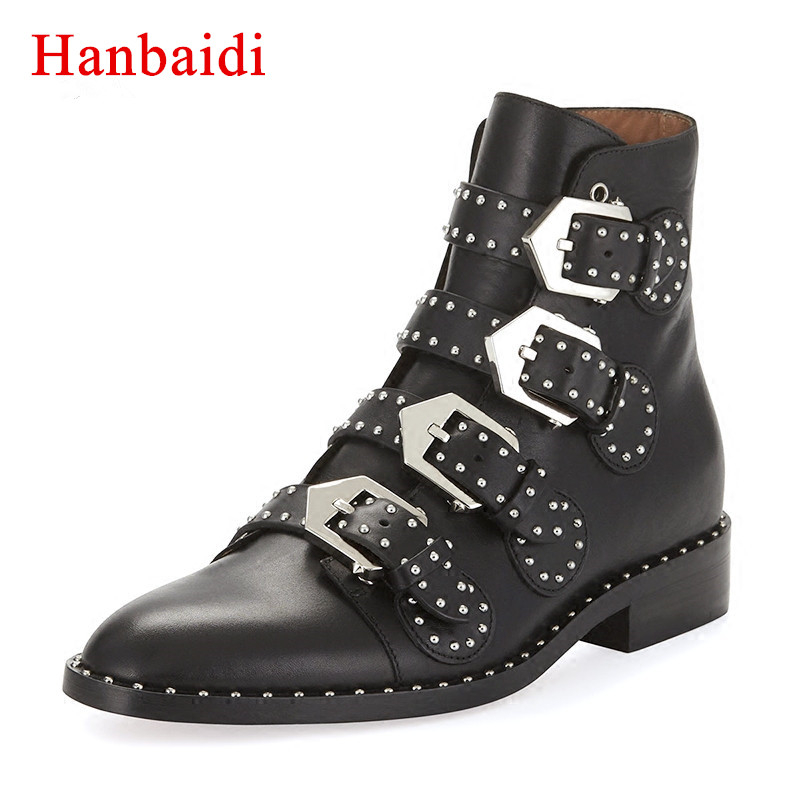 Hanbaidi Black Real Leather Martin Boots Women Pointed Toe Metal Rivet Belt Buckle Motorcycle Boots Woman Fashion Ankle Boots стоимость
