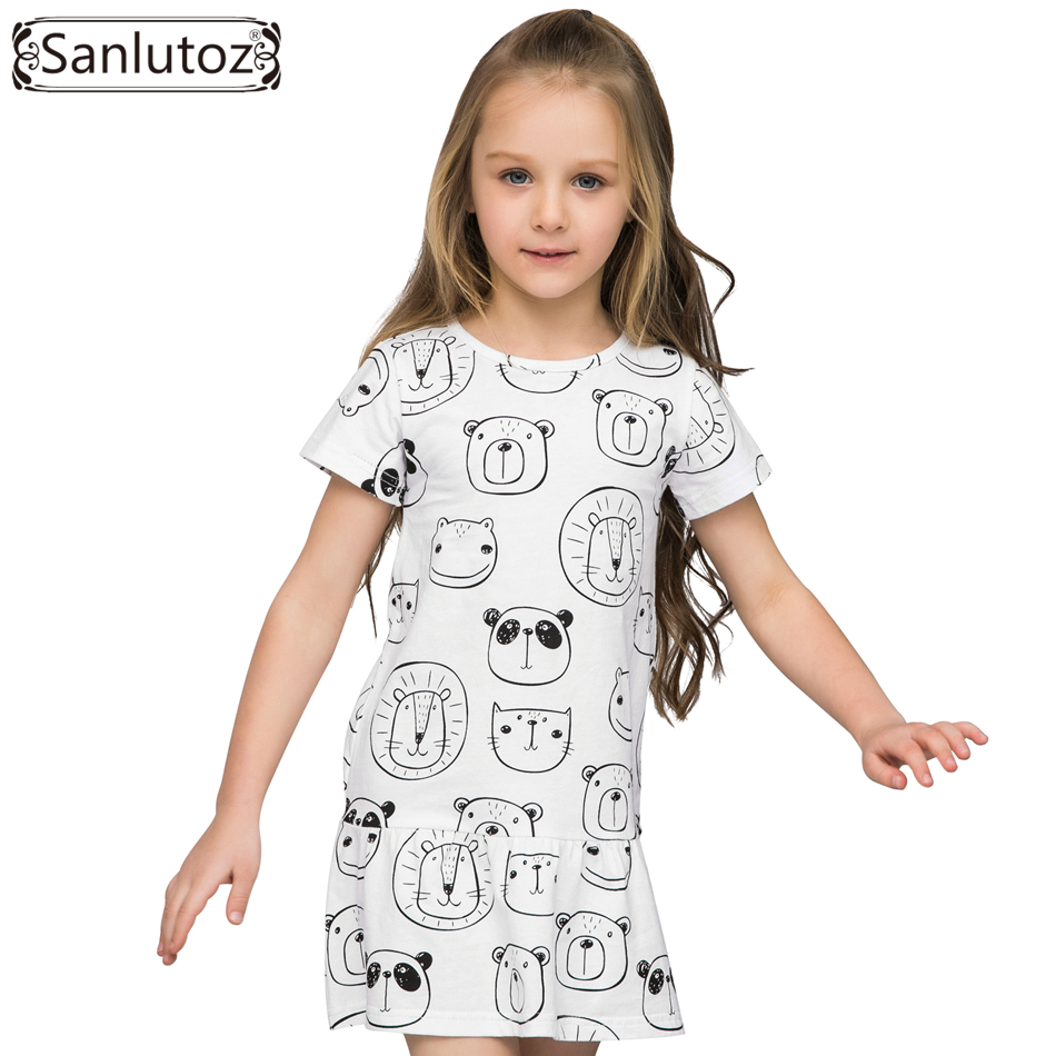 Sanlutoz Summer Cotton Dress For Girls Cartoon Panda Animals Kids Clothes Cute Children Dress Brand Princess Party Toddler new girls dress brand summer clothes ice cream print costumes sleeveless kids clothing cute children vest dress princess dress