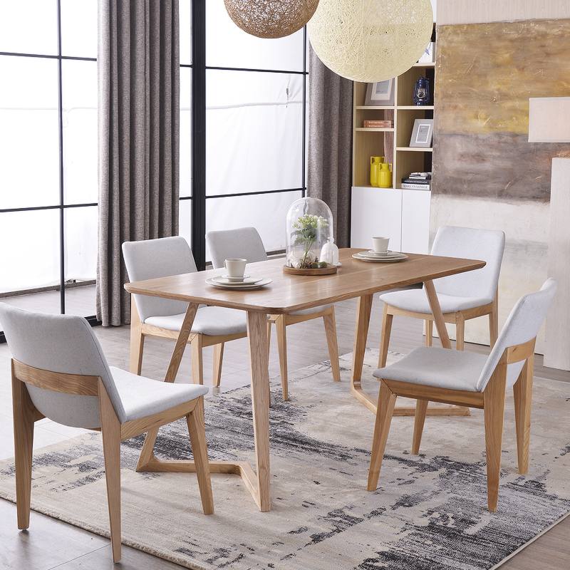 Nordic Wood Tables 6 Person Dinette Table And Four Chairs Combination IKEA  Desk Designer Model Room Furniture In Dining Tables From Furniture On ...