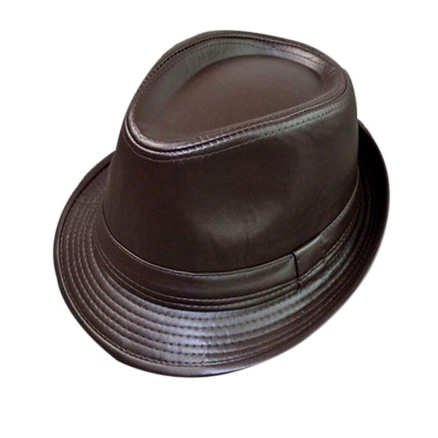 Inverno Caldo degli uomini di Cuoio Nero Fedora cappello Per I Signori delle  Genuino Chiesa Panama cappello di Jazz IN Magazzino in Inverno Caldo degli  ... 1d45bc6896bc