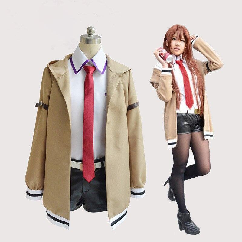 Cosfans steins portão cosplay traje japonês anime cosplay makise kurisu cosplay jaqueta casaco ternos uniforme para mulher