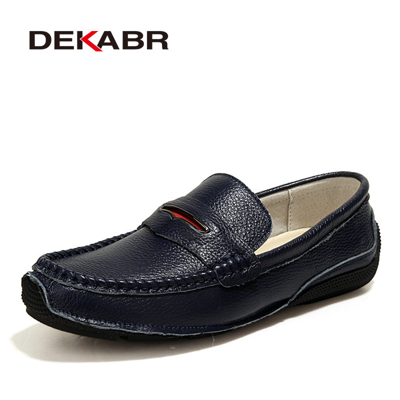 DEKABR Genuine Leather Casual Shoes Men Quality Waterproof Fashion Loafers Slip On Soft Moccasins Male Loafers Flats Men Shoes dxkzmcm new men flats cow genuine leather slip on casual shoes men loafers moccasins sapatos men oxfords