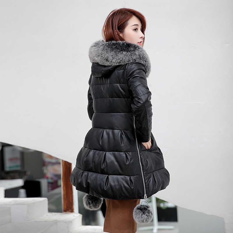 Áo Jacket Da thật Phụ Nữ Fox Lông Áo Khoác Mùa Đông 2019 Nữ Chính Hãng Da Áo Khoác Ngoài Màu Trắng Vịt Xuống Da Cừu Áo Khoác OK1229