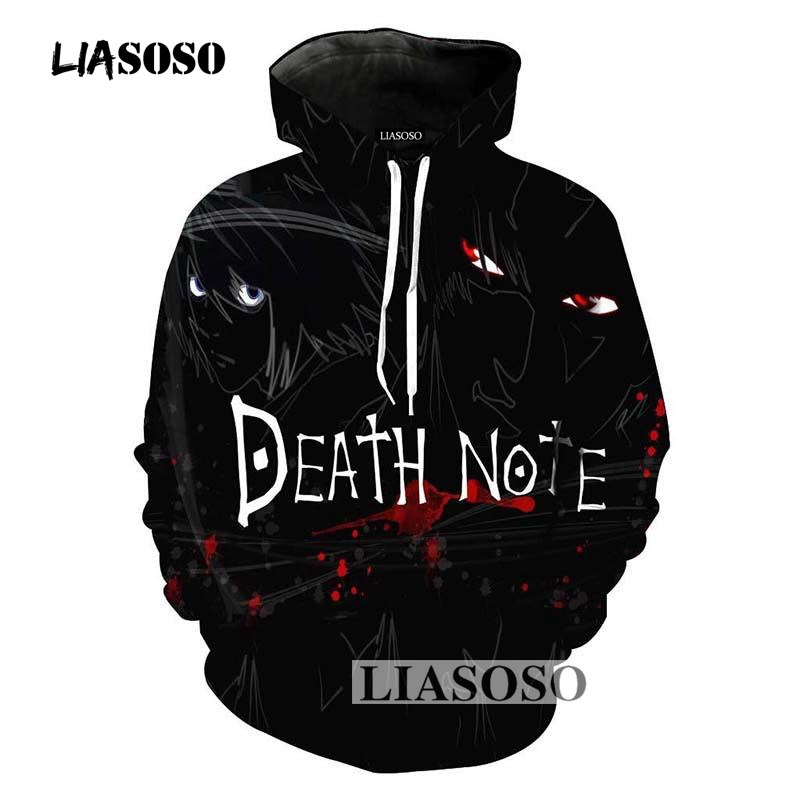LIASOSO Autumn New Men Women Fashion Sweatshirt 3D Print Anime Death Note Hoodies Long Sleeve Top Hip Hop Harajuku Pullover R046