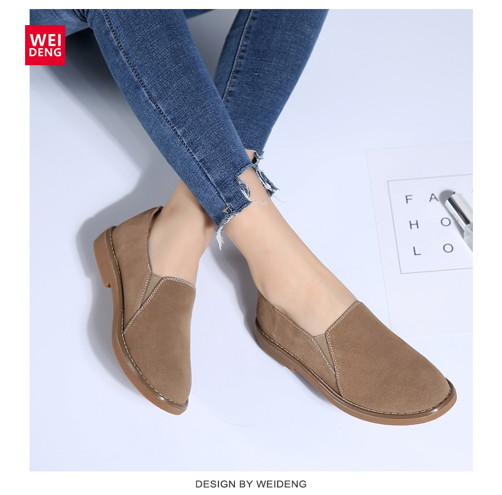 WeiDeng Genuine   Leather   Cow   Suede   Winter Shoes Women Casual Boat Fashion Footwear Flats Slip On Ladies Loafers Zapatos Mujer