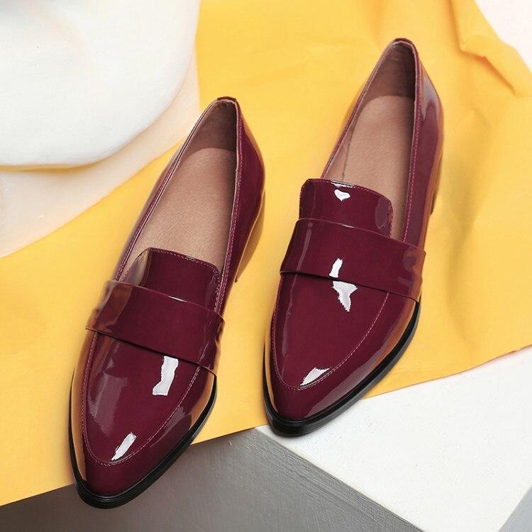 Ballet Chaussures Taille Appartements Zapatos vin Spéciale Femmes Grande Pour Rouge Pointu Offre Mujer Bout Cuir Femme En Verni Oxford Noir gS7wwpqan