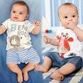 Ползунки Ребенка Жираф Медведь Короткие Ползунки Baby Boy Rompers Лето Полосатая Одежда Roupa Де Bebe