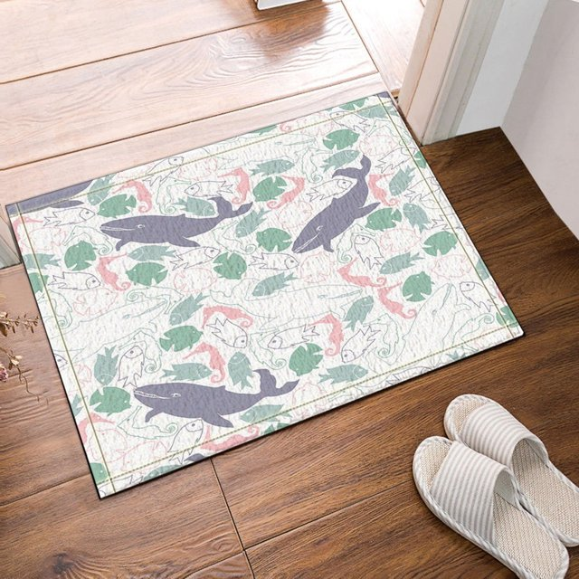 Cartoon Shark Attack Litter Fish Bath Rugs, Non Slip Doormat Floor  Entryways Outdoor Indoor