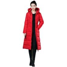 Down Jacket Women Red Black M-6XL Plus Size Loose Hooded Parkas 2019 New Autumn Winter Korean Fashion Gray Long Slim Coat LD1096