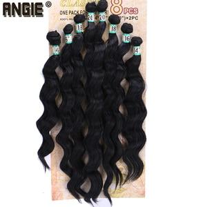 """Image 1 - 14 """"16"""" 18 """"20"""" סינטטי גלי מתולתל שיער Weave חבילות 8 יח\חבילה סינתטיות עבור נשים"""