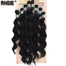 """Extensão de cabelo sintético, 14 """"16"""" 18 """"20"""" encaracolado ondulado, pacotes de extensões de cabelo sintético 8 pçs/lote para mulheres"""