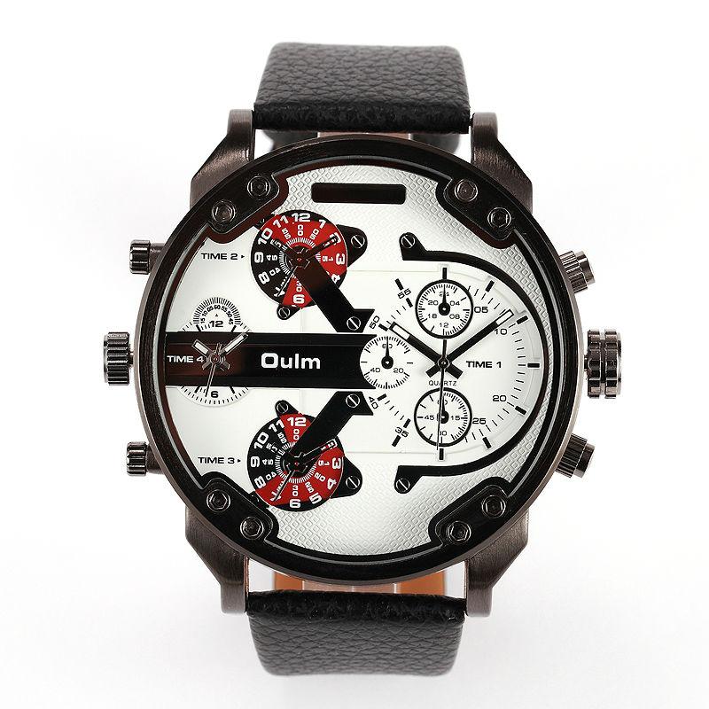 Prix pour 2016 Nouveau design de haute qualité 2 temps zone big face OULM marque classique bracelet en cuir japon mouvement à quartz armée hommes montre-bracelet