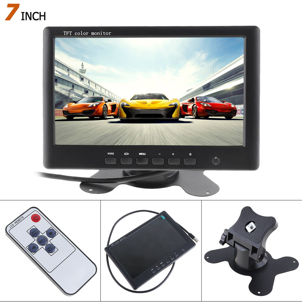 HD 800 x 480 Super Thin 7 Inch Car Monitor TFT Car LCD Monitor Monitor Color LCD 2 channeles Video Input Car Rear View Monitor