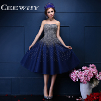 Custom Made Blue Organza Crystal Beading Tea Length Strapless A Line Homecoming Dresses Graduation Dresses Vestido